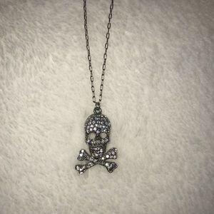Express CZ Skull Silver Pendant Necklace